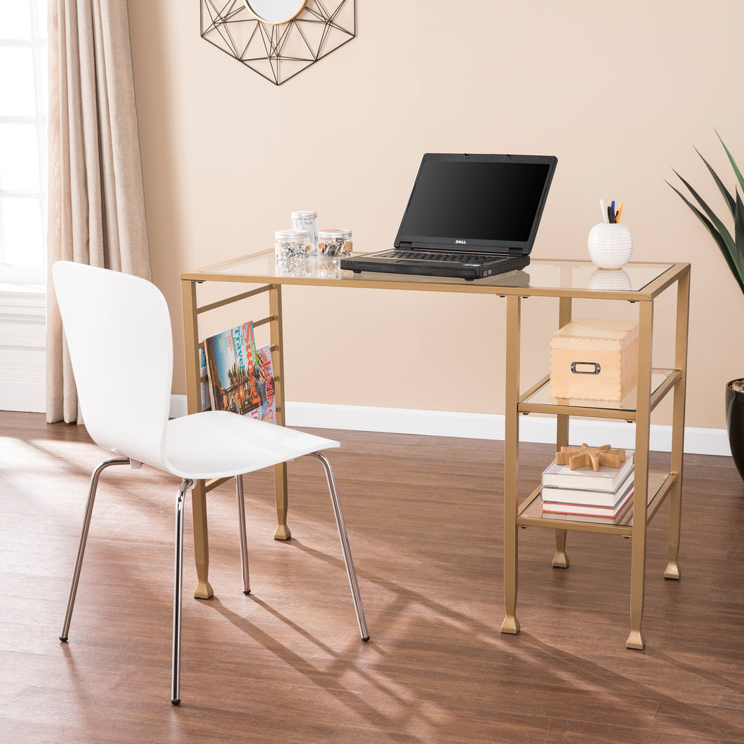 Jaymes Gold Metal/Glass Writing Desk  -  HO5776