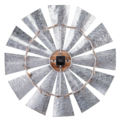 Brevan Oversized Decorative Windmill Wall Clock - Galvanized Aluminum