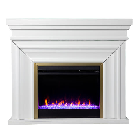 Bevonly White Color Changing Fireplace