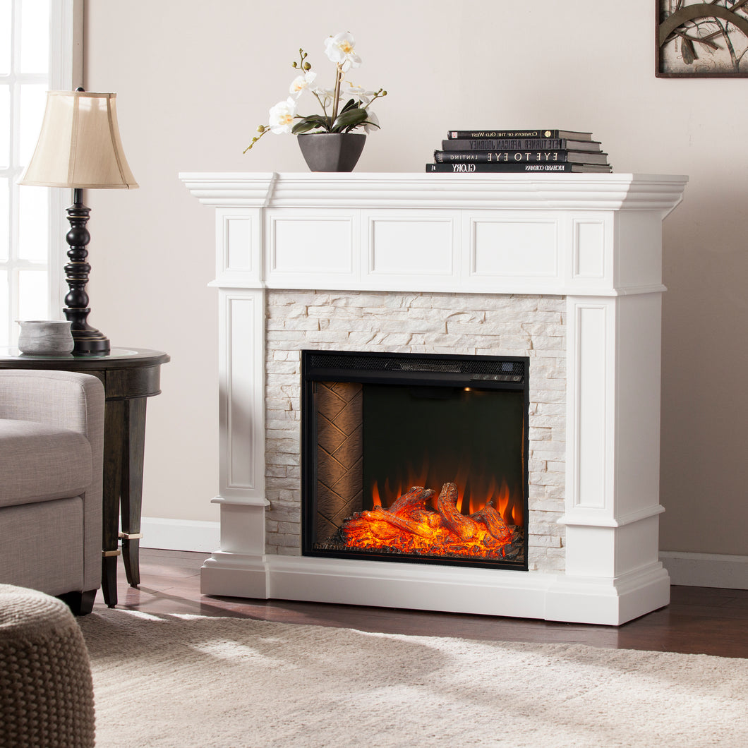 Merrimack Alexa Smart Corner Fireplace – White  -  FS9638