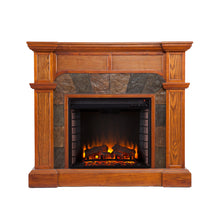 Load image into Gallery viewer, Cartwright Corner Electric Fireplace - Mission Oak  -  FE9285