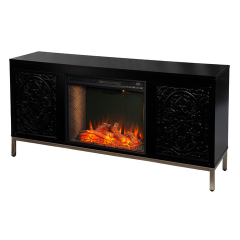 Image of Winsterly Alexa Smart Fireplace Console w/ Media Storage