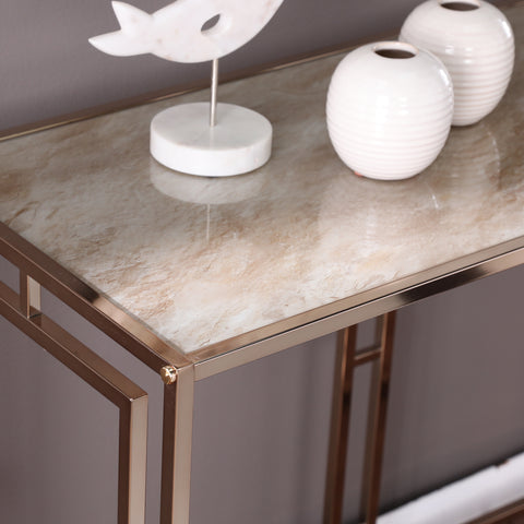 Simondley Faux Marble Console Table
