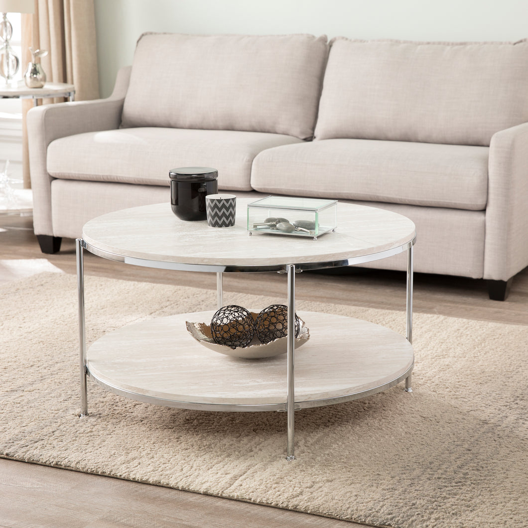 Silas Round Faux Stone Cocktail Table - Chrome  -  CK5740
