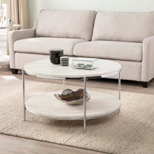 Load image into Gallery viewer, Silas Round Faux Stone Cocktail Table - Chrome  -  CK5740