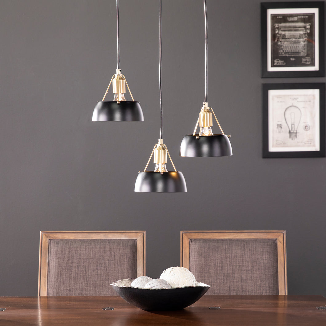 Renmarco Contemporary 3-Light Cluster Pendant - Black  -  LT1038648