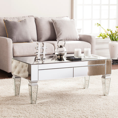 Image of Darien Contemporary Mirrored Rectangular Cocktail Table