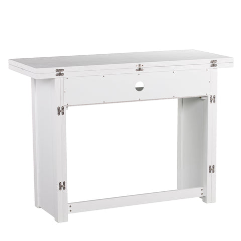 Kempsey Convertible Console-to-Dining Table - White