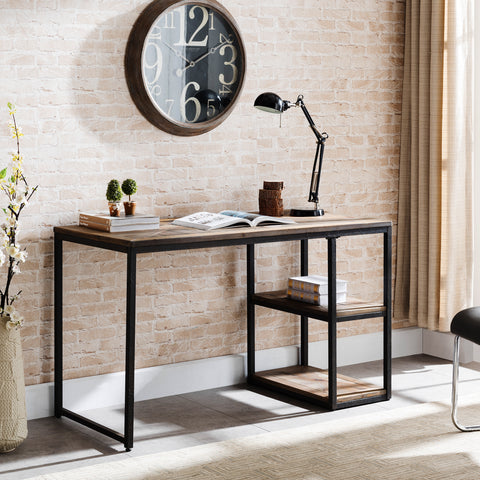 Image of Garviston Reclaimed Wood Writing Desk - Industrial Style - Rustic Black w/ Distressed Fir