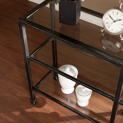 Image of Metal/Glass 3-Tier Console Table - Distressed Black