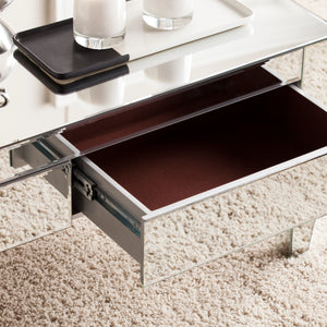 Darien Contemporary Mirrored Rectangular Cocktail Table