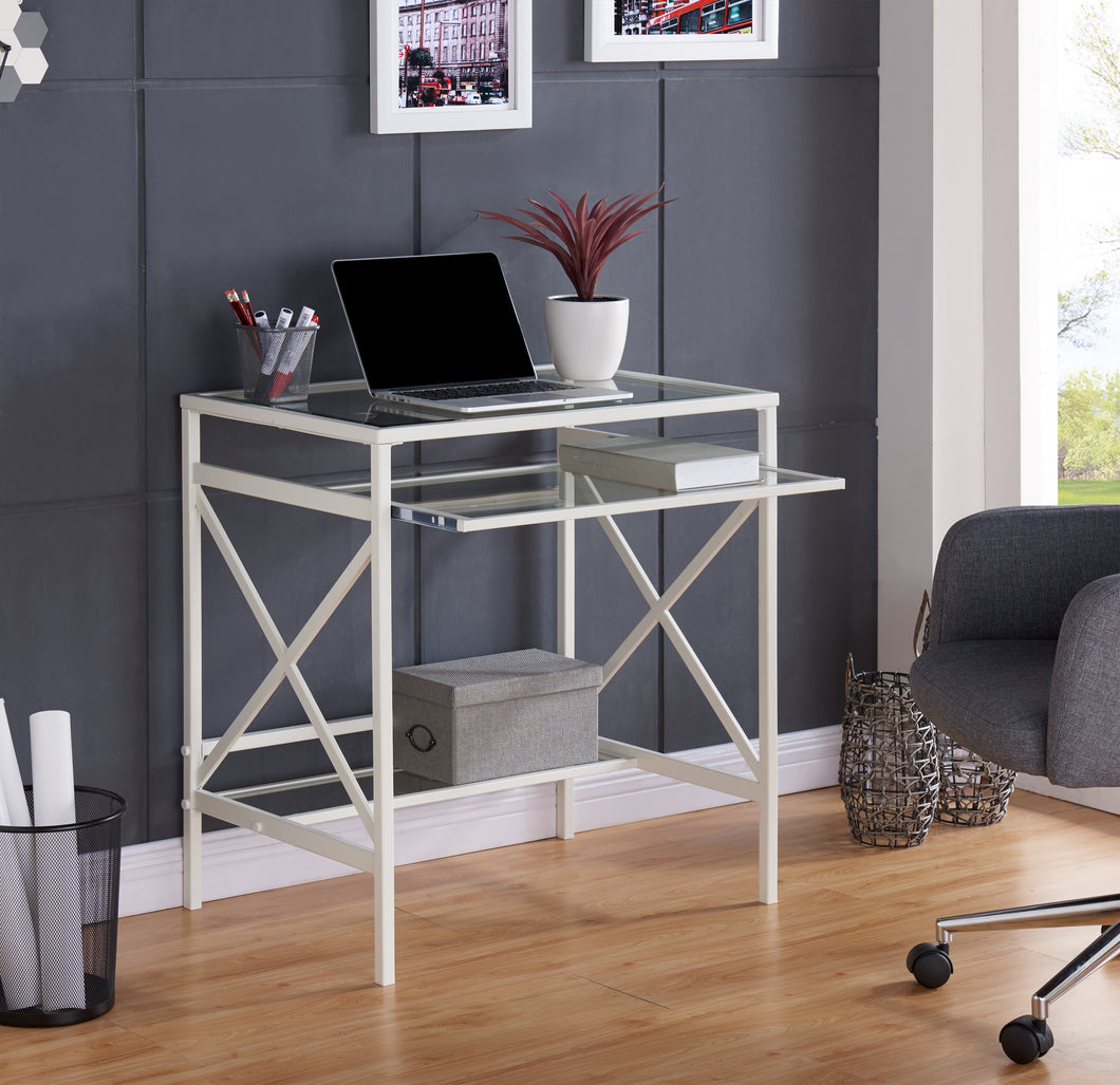 Elvan Metal/Glass Small-Space Desk - White  -  HO6530