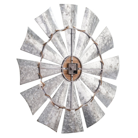 Image of Brevan Oversized Decorative Windmill Wall Clock - Galvanized Aluminum