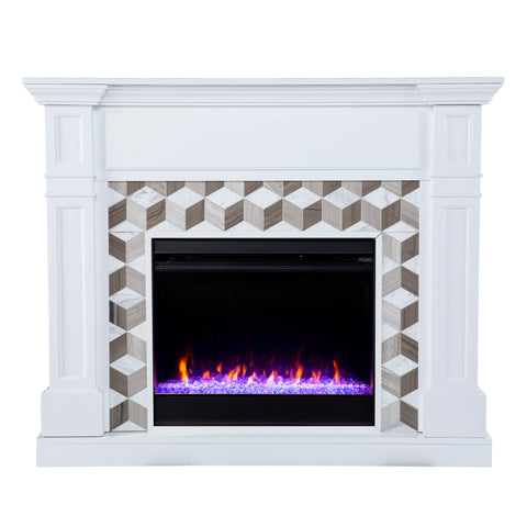 Image of Darvingmore Color Changing Fireplace w/ Marble Surround