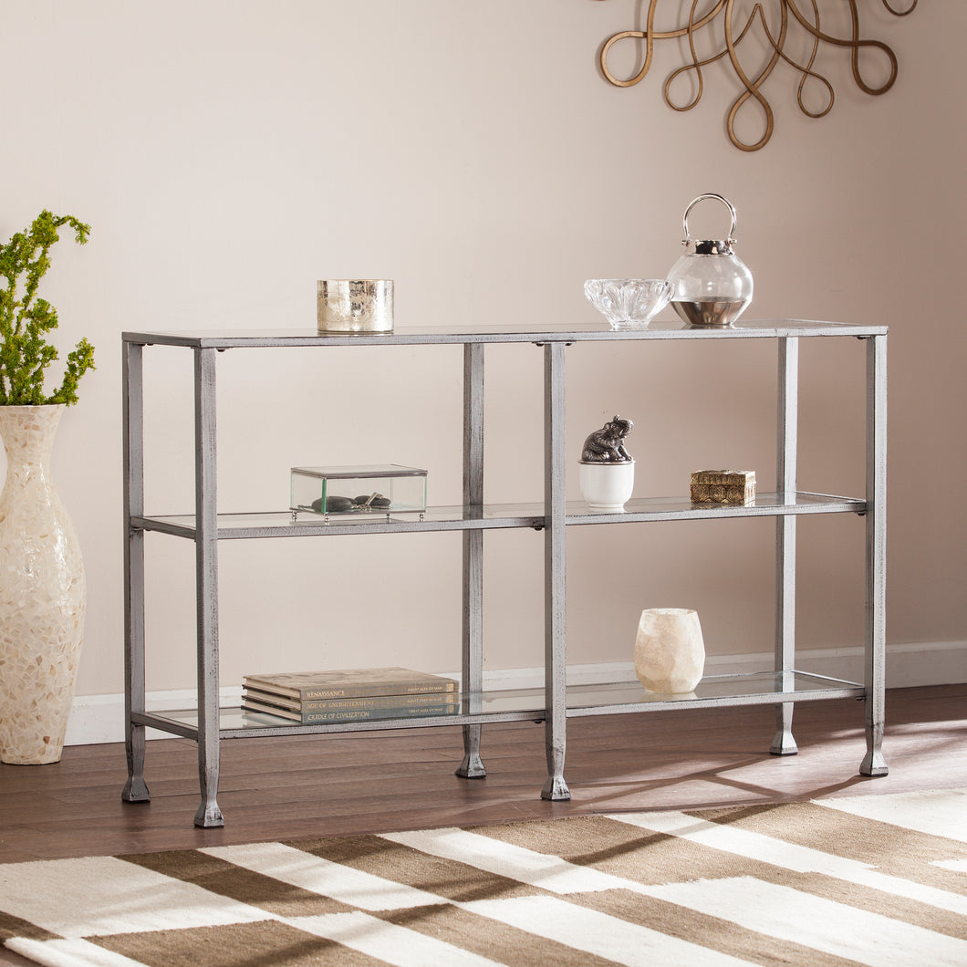 Jaymes Metal/Glass 3-Tier Console Table/Media Stand - Silver  -  CM0771