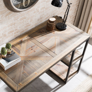 Garviston Reclaimed Wood Writing Desk - Industrial Style - Rustic Black w/ Distressed Fir