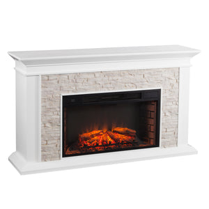 Canyon Heights Electric Fireplace - White
