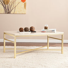 Load image into Gallery viewer, Orinda Faux Stone Cocktail Table - Travertine  -  CK3940