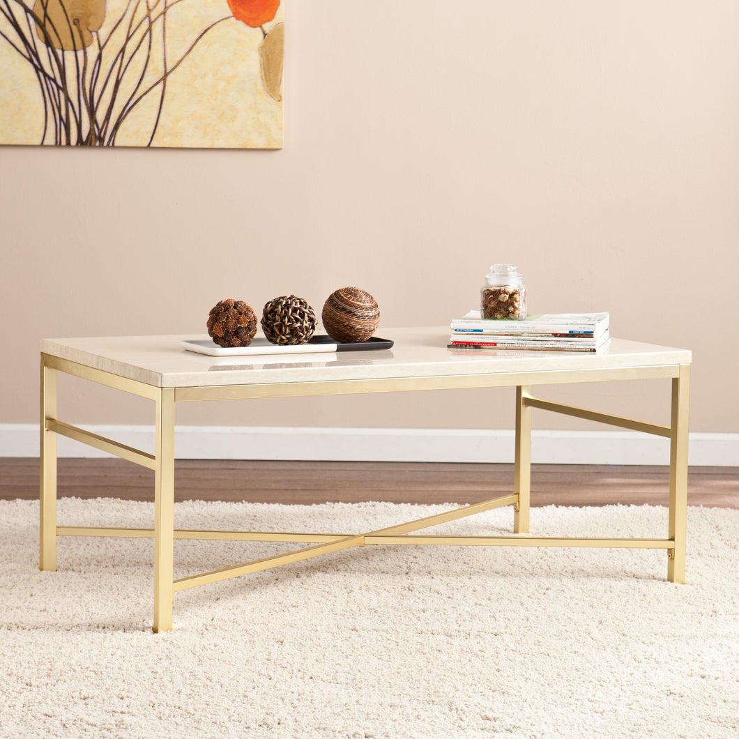 Orinda Faux Stone Cocktail Table - Travertine  -  CK3940