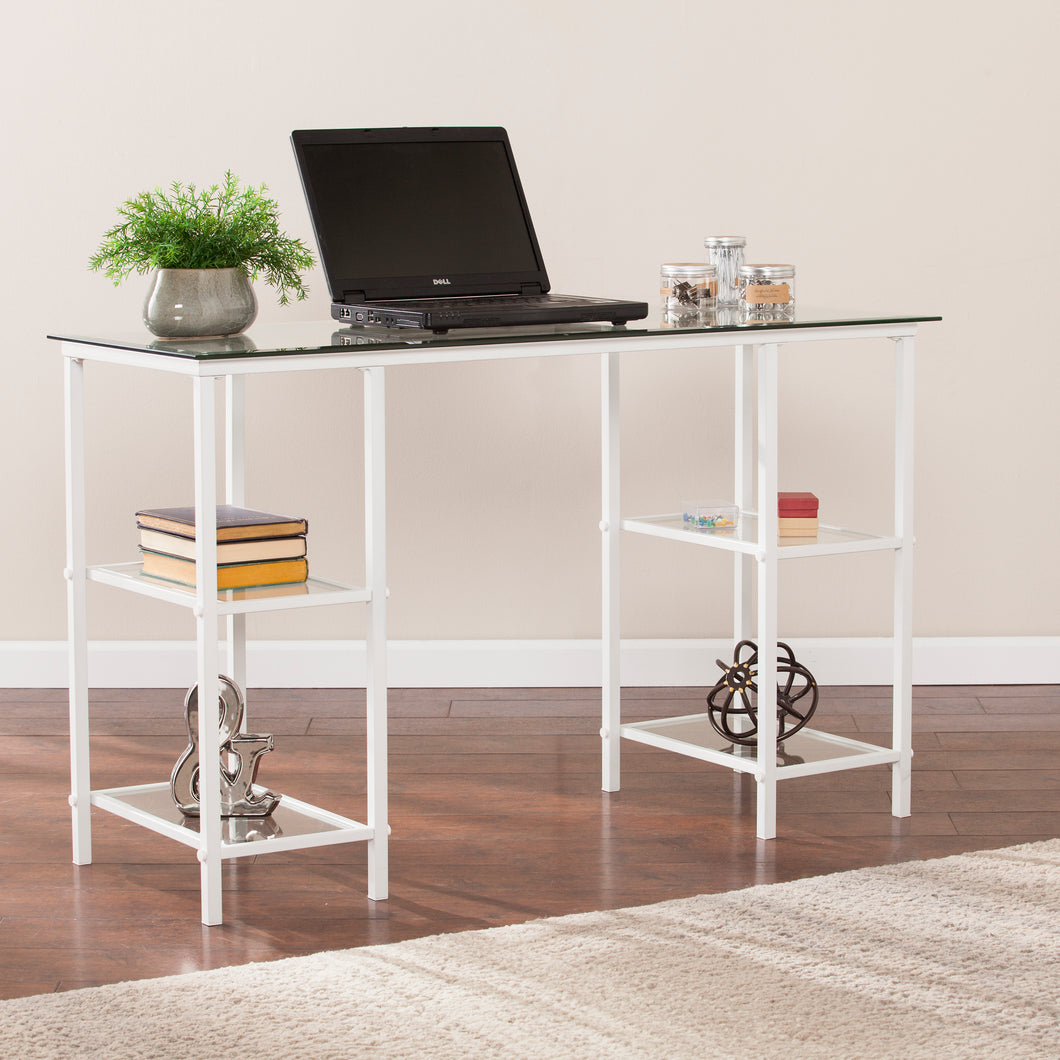 Aiden Metal/Glass Writing Desk - White  -  HO6533
