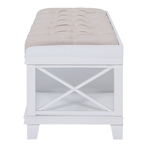Wyndcliff White Upholstered Storage Bench