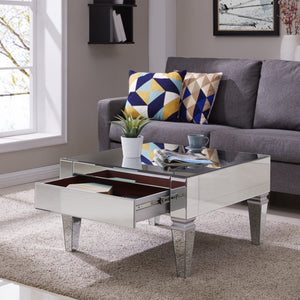 Darien Square Mirrored Cocktail Table - Glam Style - Mirrored w/ Matte Silver