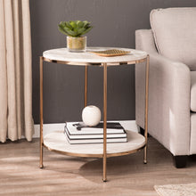 Load image into Gallery viewer, Silas Round Faux Stone End Table - Champagne  -  CK5732
