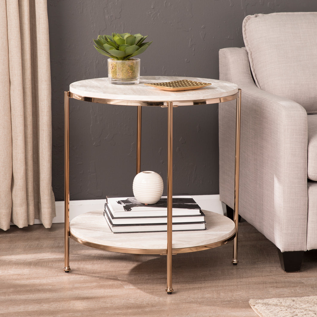 Silas Round Faux Stone End Table - Champagne  -  CK5732