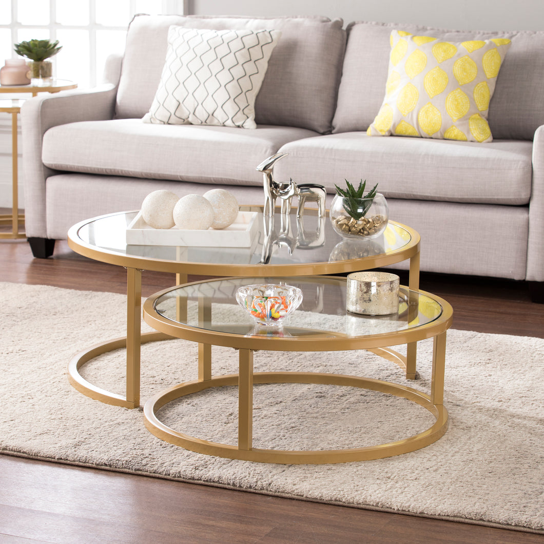 Evelyn Glam Nesting Cocktail Table 2pc Set – Gold  -  CK4290