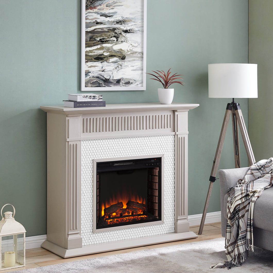 Chessing Penny-Tiled Fireplace  -  FE1009259