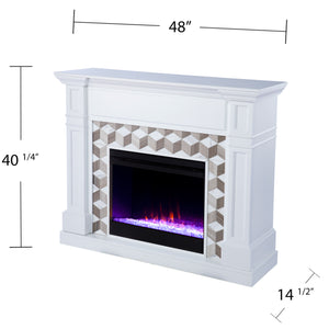 Darvingmore Color Changing Fireplace w/ Marble Surround