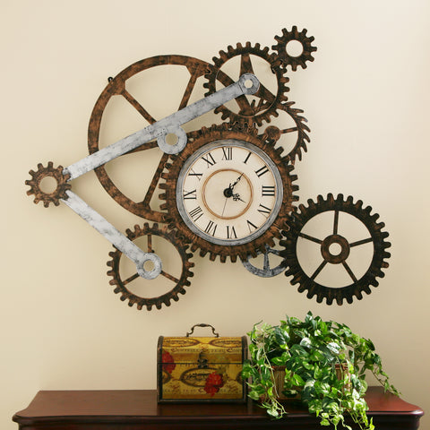Gear Wall Art with Clock