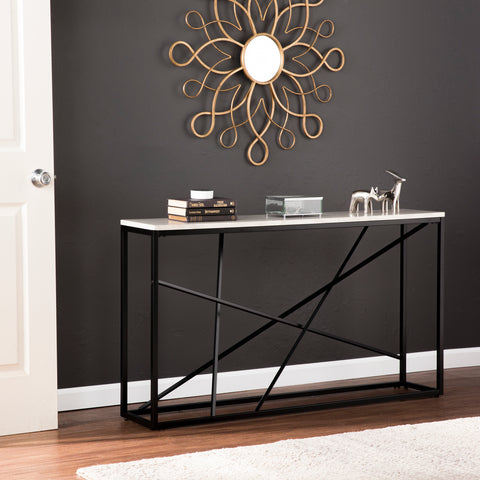 Image of Arendal Faux Marble Skinny Console Table – Matte Black w/ White