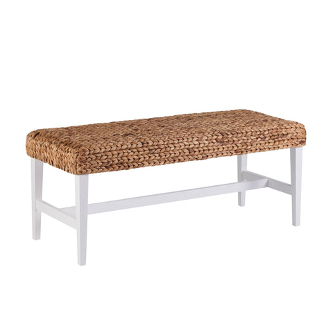 Image of White Woven Coffee Table Bench