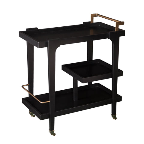 Image of Holly & Martin Zhori Midcentury Modern Bar Cart - Black