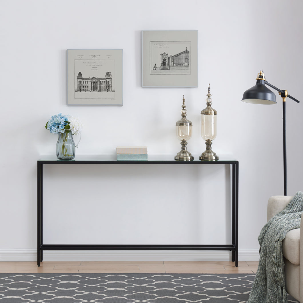 Darrin Narrow Long Console Table w/ Mirrored Top – Black  -  CM9596