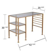 Load image into Gallery viewer, Jaymes Gold Metal/Glass Writing Desk  -  HO5776