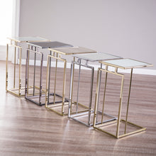 Load image into Gallery viewer, Colbi Glass-Topped C-Table - Glam Style - Champagne w/ White Faux Marble Glass  -  OC9841