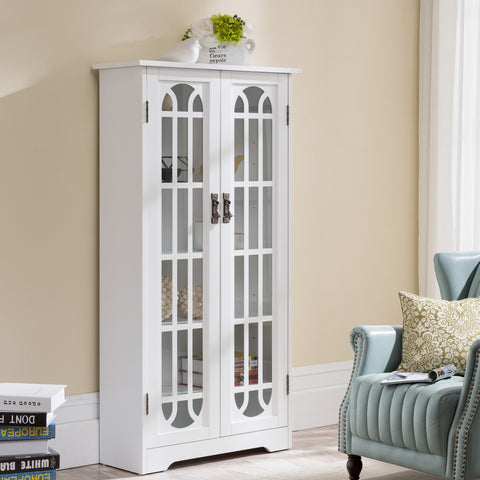 White Display Cabinet w/ Windowpane Glass Doors