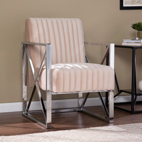 Ellison Velveteen Accent Chair – Champagne w/ Chrome