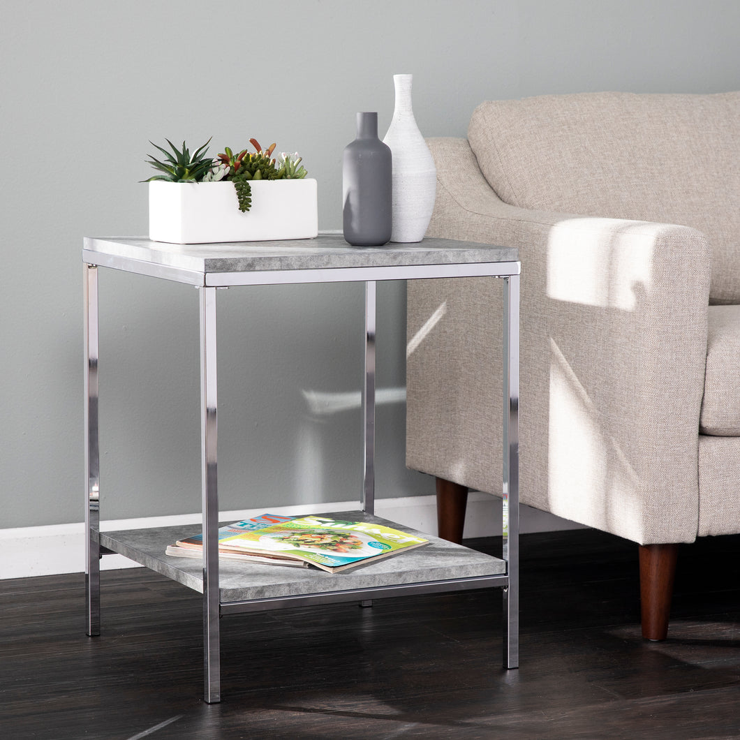 Lyrran Faux Concrete End Table  -  CK1005902