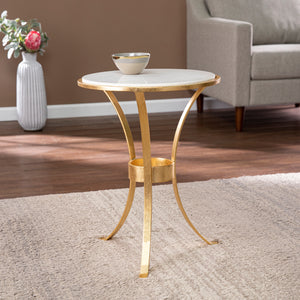 Fordoche Round Accent Table - Gold