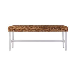 White Woven Coffee Table Bench