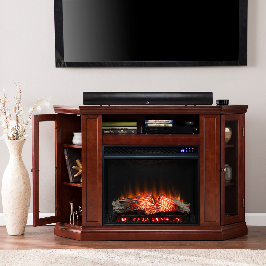 Claremont Electric Corner Fireplace w/ Storage- Cherry  -  FR9310