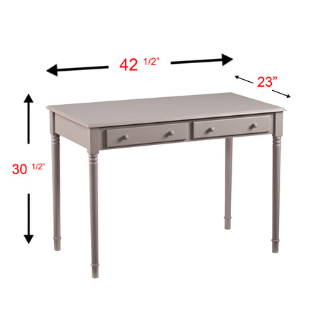 Image of Janice 2-Drawer  Writing Desk - Gray
