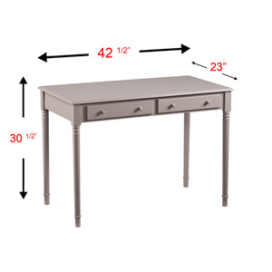 Janice 2-Drawer  Writing Desk - Gray