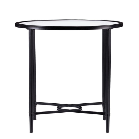 Image of Quinton Metal/Glass Oval Side Table