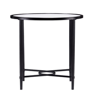 Quinton Metal/Glass Oval Side Table