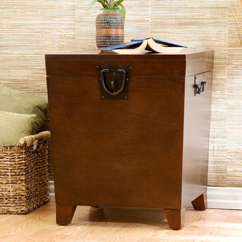 Pyramid Trunk End Table - Espresso