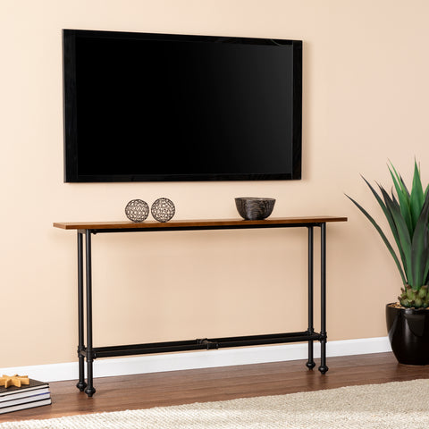 Agnew Console Table - Black w/ Espresso